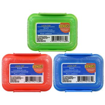 Whether storing food in the refrigerator or taking it with you on the go, plastic storage containers with lock-top lids will help to make sure it stays fresh. Perfect for storing snacks, these storage