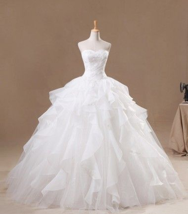 Long Ball Gown Sweetheart Floral Organza Wedding Dress/Ball Gown