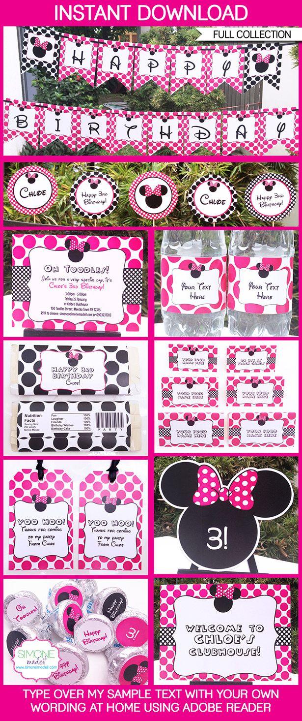 Minnie Mouse Party Printables, Invitations & Decorations | Birthday Party Theme templates | Via SIMONEmadeit.com