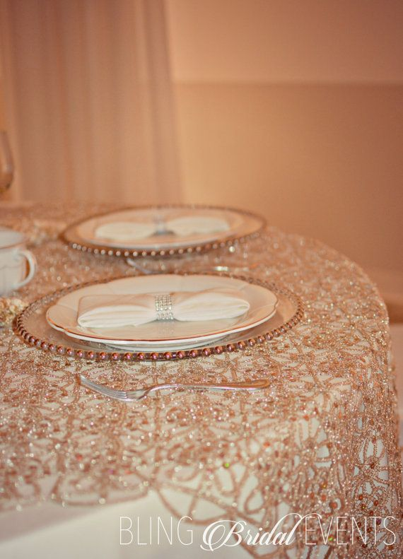Champagne Table Overlay (Sequins & Lace)