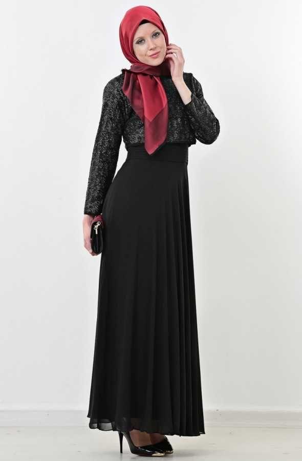 Puane Bolerolu Abiye Elbise-Siyah 4351-01-01