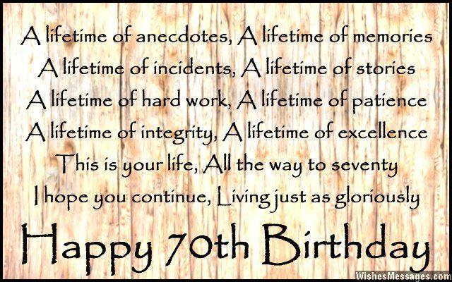 70th Birthday Poems, Birthday Wishes