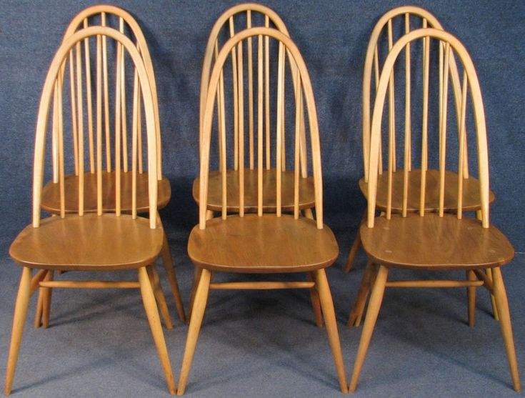 Set Of 6 Ercol Windsor Quaker 365 Elm & Beech Kitchen Dining Chairs Light Finish #Ercol #WindsorQuaker