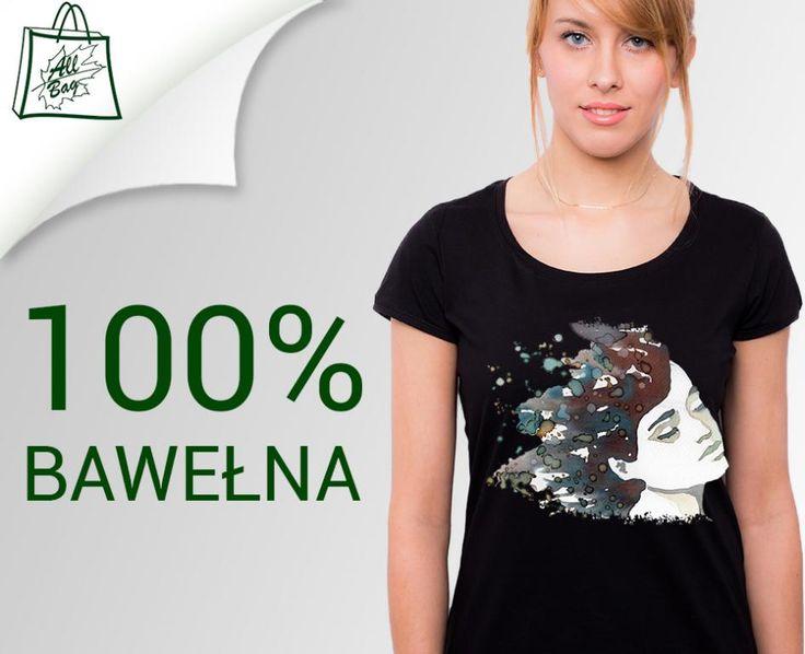 NOWOŚĆ t-shirt damski czarny NADRUK dtg AKWARELA