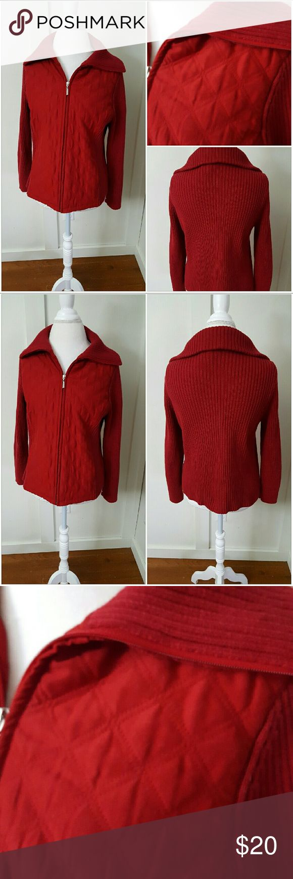 Croft and Barrow Petite Medium Red Quilted Sweater Croft and Barrow PM red quilted sweater jacket. Zip up. Long sleeves. Pre-owned and in good condition. Knit body - 100% Cotton. Woven body - 100% Polyester. Filling 100% Polyester croft & barrow Sweaters