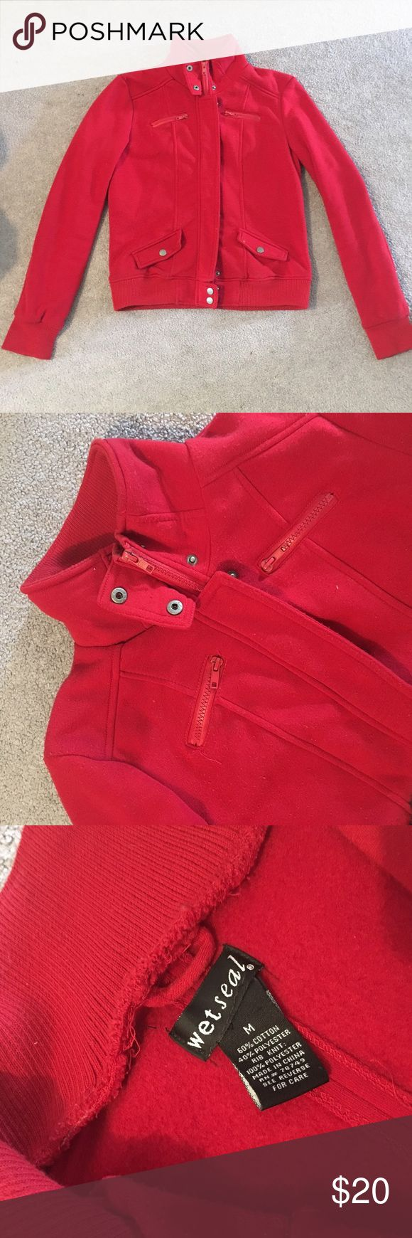 😍 STUNNING women's red wind jacket ❤️ this is a used wet seal jacket that was my go to for a while. i just got a new one so wanted to hand this down. the color is fabulous! makes an old statement and looks amazing on! the jacket is a nice quality and fits well on the body:) i'll consider offers so let me know if you're interested! Wet Seal Jackets & Coats
