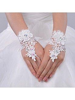 Ivoire gants de mariée poignet longueur sans doigts en dentelle avec faux diamant - EUR 5.46€