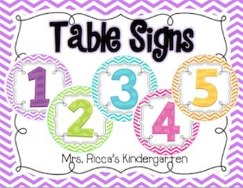 "These table signs are cute and functional! Label each table group or center with a lantern hanging from the ceiling to bring some color to your classroom! Includes numbers 1-10 and a ""Teacher Table"" label."
