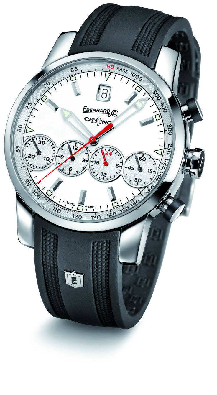 Chrono 4 Grande Taille ref. 31052.1    Mechanical automatic   winding chronograph  steel  domed sapphire glass   anti-reflective   screw-in crown    with rubber insert  push-buttons with lateral    rubber insert  caseback fixed by 8 screws  rubber or crocodile strap  steel buckle - 19 mm.