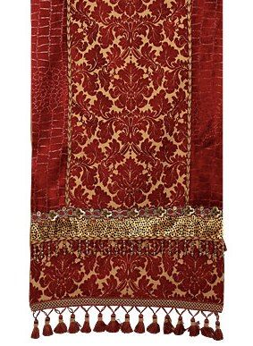 This Red And Bronze Damask Chenille Luxury Table Runner Is Accented With A Deep  Red Croc