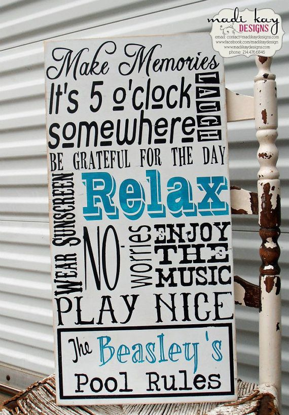 Swimming Pool Rules Custom Pool Sign by MadiKayDesigns on Etsy