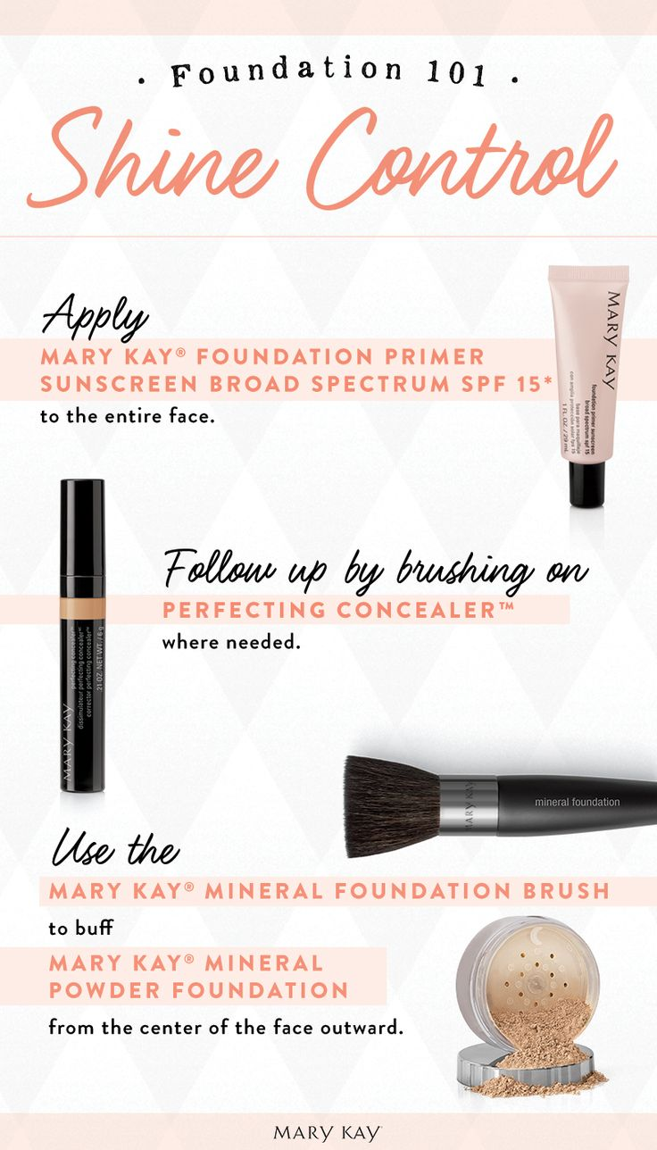 Does your skin tend to be more oily or shiny? Mary Kay® Foundation Primer Sunscreen Broad Spectrum SPF 15* contains an oil-free formula with SPF 15* that is mineral-enriched to absorb oil and diffuse light and help reduce the appearance of fine lines, wrinkles, and pores. Finish with Mary Kay® Mineral Powder Foundation to controls shine and impart a matte finish.
