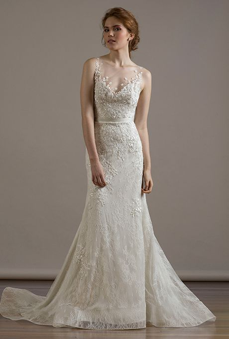 A @liancarlodesign wedding dress with an illusion neckline | Brides.com