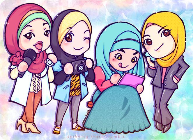 muslim-women-doctor-lawyer-artist-scientist - Chibi Muslim Girls: Doctor, Scientist, Artist, Lawyer | IslamicArtDB.com