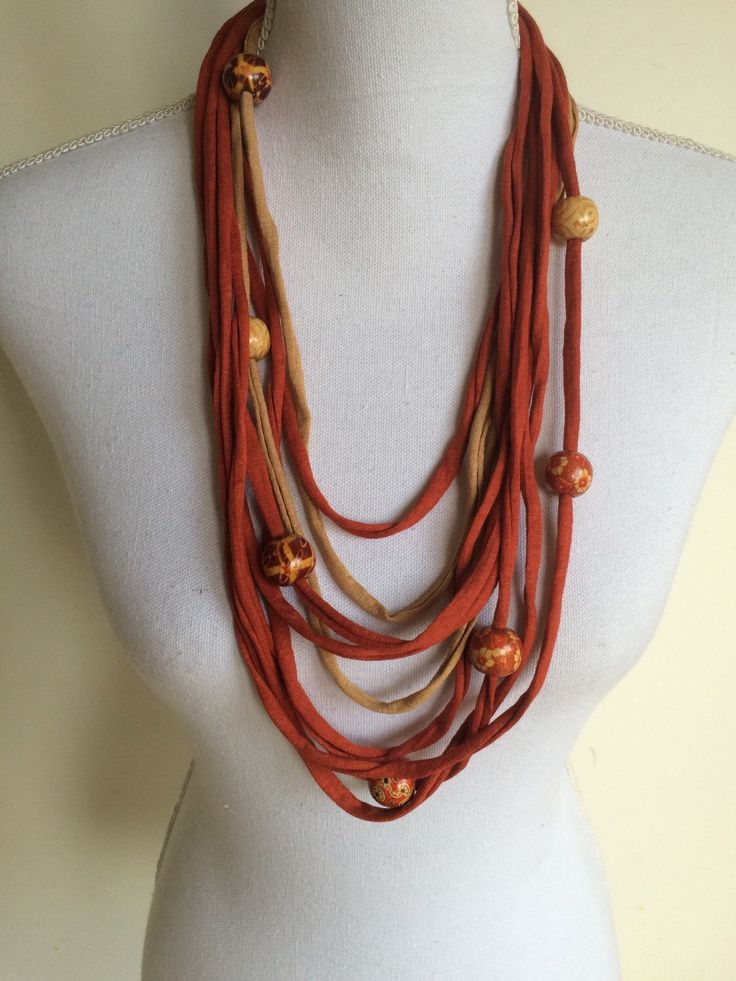 A personal favourite from my Etsy shop https://www.etsy.com/listing/269644012/t-shirt-yarn-necklace-scarf