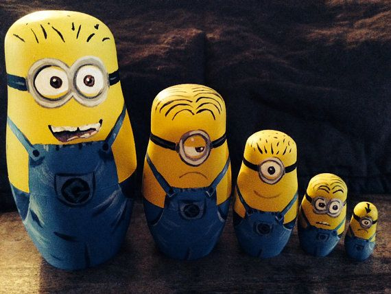 Despicable Me minion nesting dolls by Payntstar on Etsy, $38.00