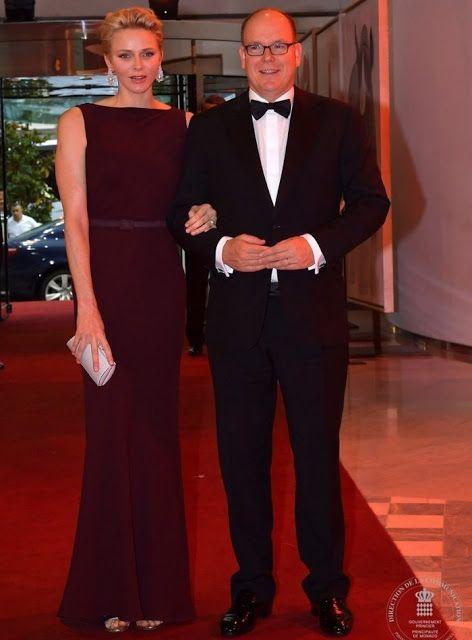 Prinses Charlene en Prins Albert in 'Prince Albert II Stichting galadiner