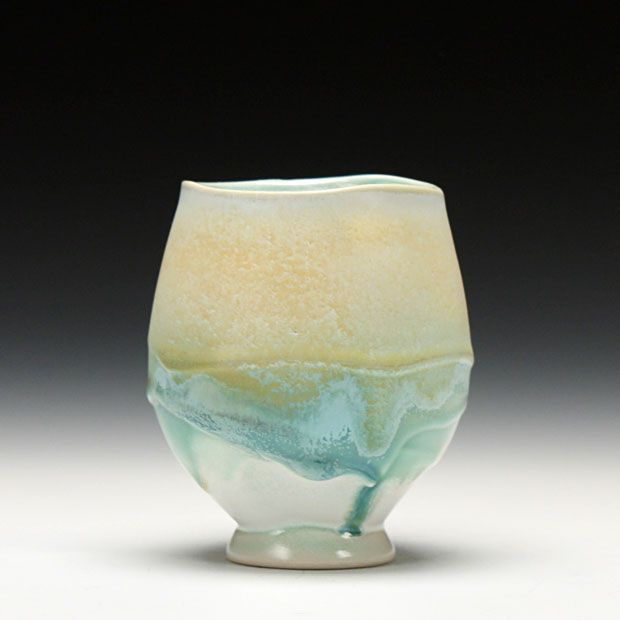 ~ Steven Hill Pottery - Yunomi, white stoneware with multiple sprayed glazes