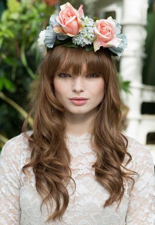 Peach Rose & Blossom Crown Headband £28.00
