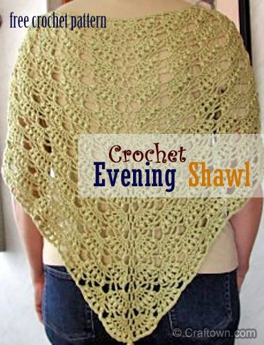 """Free Crochet Pattern - Evening Shawl- This evening shawl will make an elegant accent piece for any outfit, for daytime or evening outings.  It comes together easily + fairly quickly.  It can be made in many different colors + yarn types.   Difficulty: Easy   Size: 56"""" W x 30"""" H, plus fringe.   Gauge: 1 pat = 3 1/4""""; 2 rows = 1"""". Materials: Spinnerin Startime, 6 - 40 gram balls white with silver or similar yarn. Crochet hook size F."""