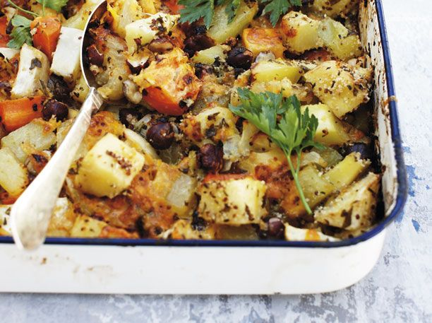 Bliv inspireret af det irske køkken og lav bagte rodfrugter med crumble