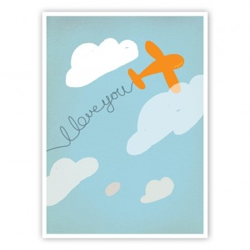 Love plane blue art print