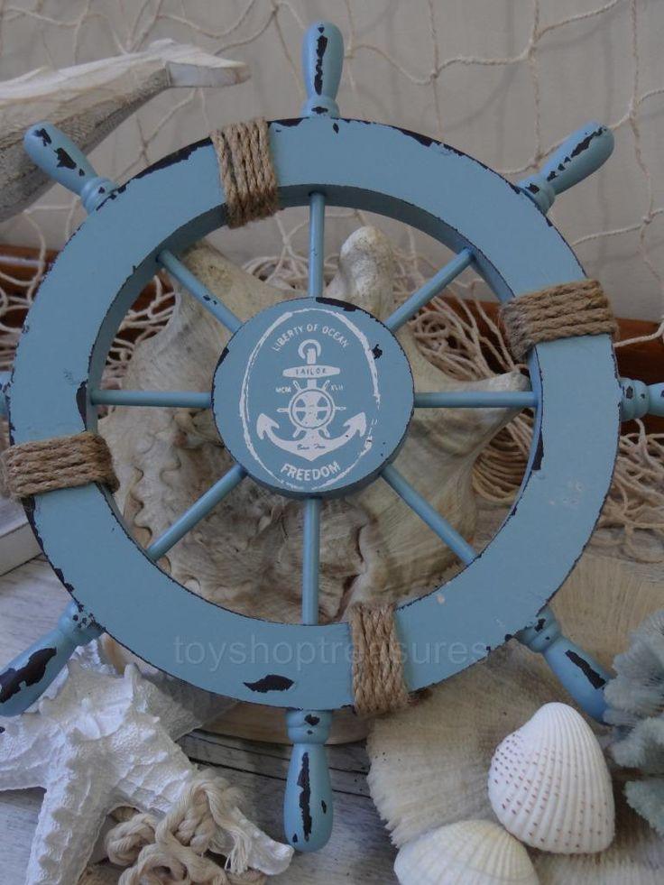Vintage Style Wood Ships Wheel Beach House Decor Turquoise Blue Wall Hang | eBay
