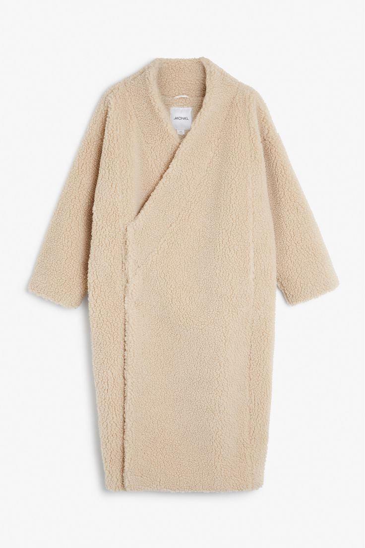 Monki Image 1 of Shearling kimono coat  in Beige Light
