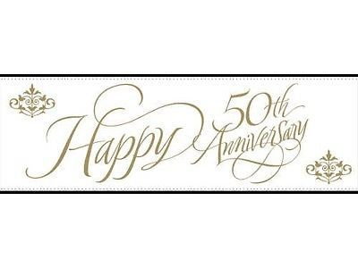 GIANT party 50th Happy anniversary BANNER 50 th golden years anniversary gold
