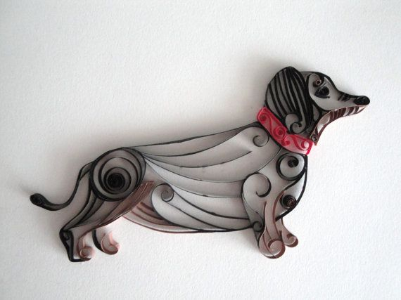 Quilled paper dachshund dog home decor black and tan for Quilling home decor