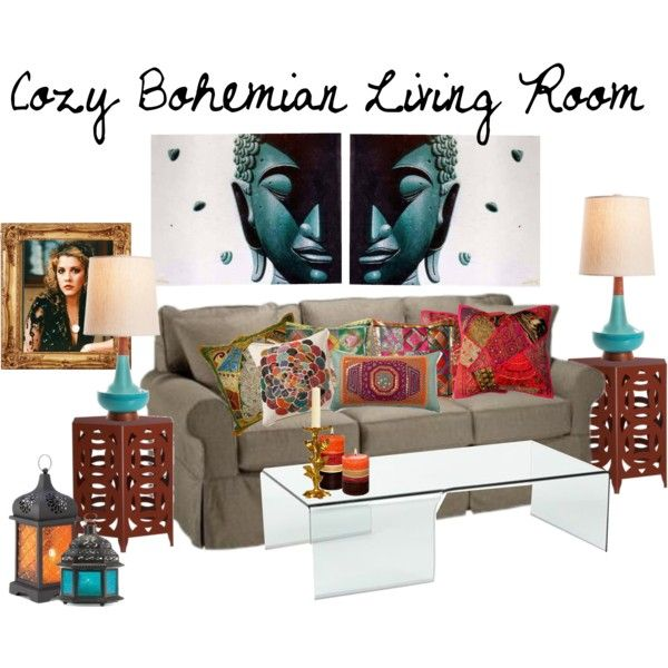 """""""Cozy Bohemian Living Room"""" by stuffjendid on Polyvore"""