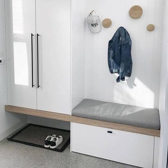 """BT--junk drawer area and bench """"floating"""" for shoes to slide underneath"""