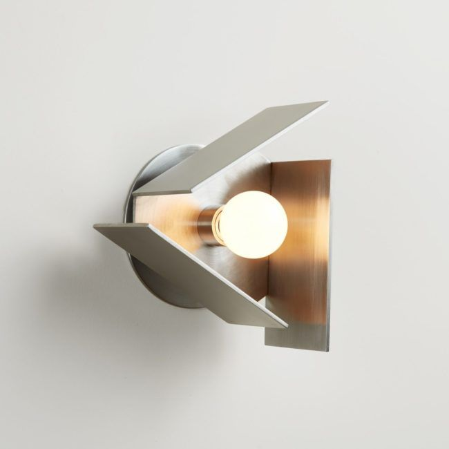 In design as in architecture, Silver is part of the trendy materials of the year 2018 | TrippMini Sconce, Pelle studio | silver lamp | aluminum lighting | silver sconce | aluminum sconce | triangle lamp | silver material | silver design objects | silver trend 2018 | 2018 design trends | 2018 color trends | silver metal | silver home decor | aluminum home decor | interior design inspiration | mirrored object | home mirror | bedroom decor | living room decor | metal lighting | wall lighting