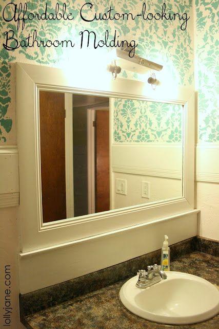 Custom bathroom mirror molding. I want this whole bathroom.