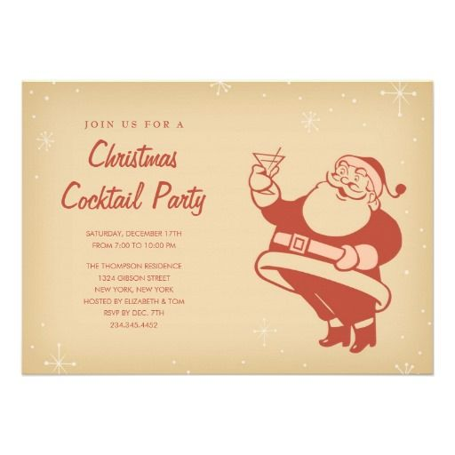 Retro Christmas Cocktail Party Invitations                                                                                                                                                                                 More