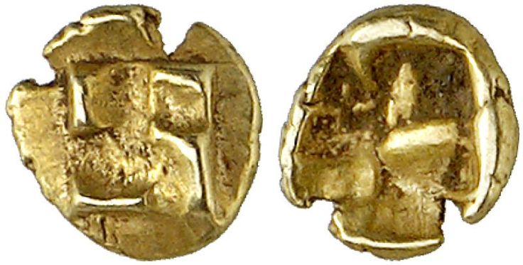 EL Forty-Eighth Stater, Milesian standard. Greek Coin, Ionia. Early Coinage in Electrum. 0,30g. EF. Price realized 2011: 325 USD.