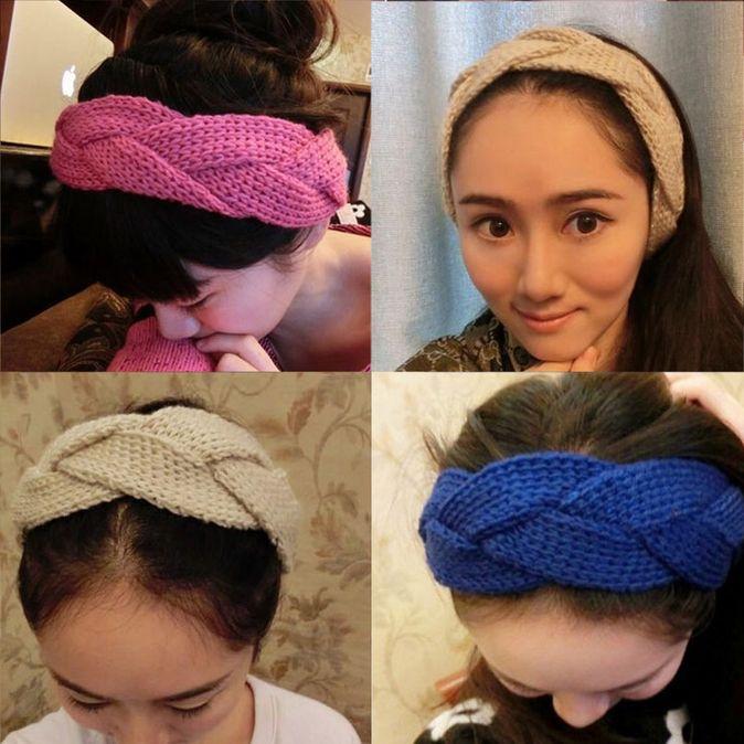 Women-Elegant-Pure-Manual-Knitting-Wool-Twist-Braid-Wide-Hairband-Handband-BE