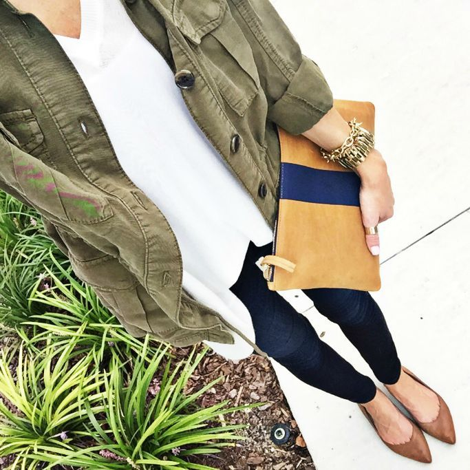 Olive Topshop Elsa Four Pocket Utility Jacket, Cream Press Cotton & Modal Boxy V-Neck Sweater, Brown BP Moveover Pointed Toe Flat (all items from Nordstrom)