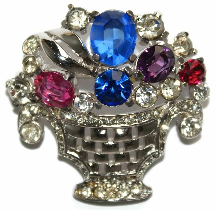#658 Leo Glass Rhinestone Victorian Basket Pin Exclusively at Lee Caplan Vintage Collection on RubyLane