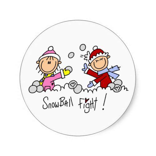 Stick Figures Snowball Fight Round Stickers
