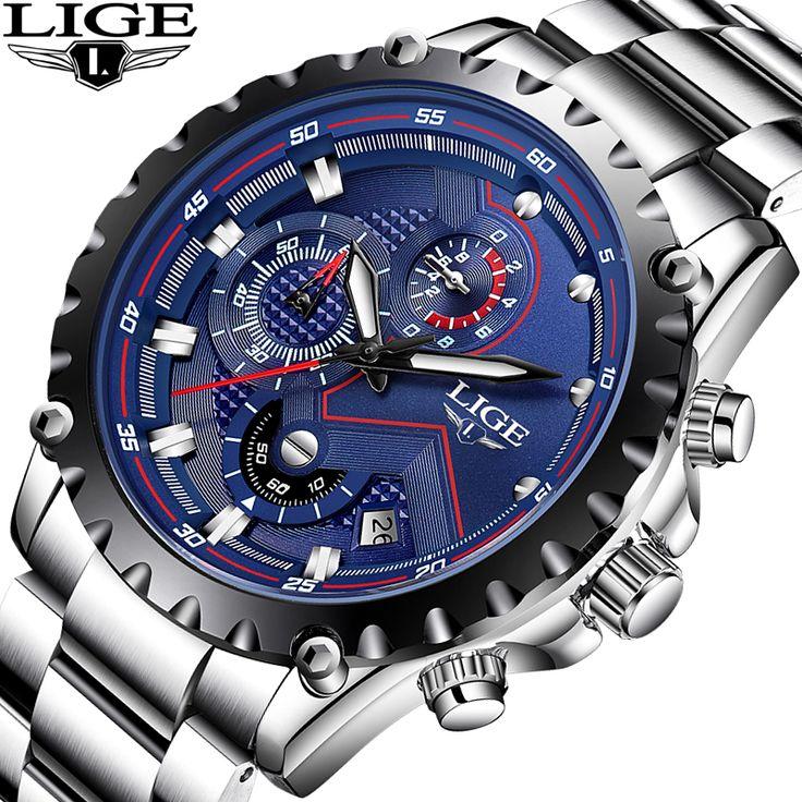 LIGE Mens Watches Top Brand Luxury Business Quartz Watch