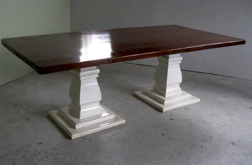 High Gloss Farm Table With Double Pedestal Base Shops