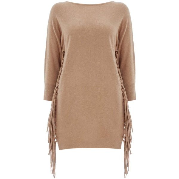 Camel Batwing Fringe Tunic Jumper ($32) ❤ liked on Polyvore featuring tops, dresses, camel, fringe top, relaxed fit tops, batwing top, camel top and beige top