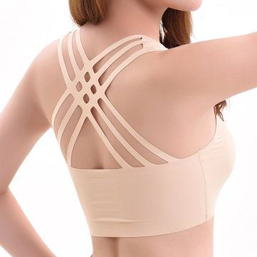 Sexy Silk Seamless Back Criss-cross Breathable Yoga Wrapped Chest Bra at Banggood