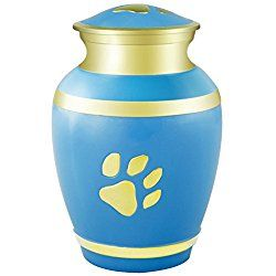 Meilinxu - Pet Funeral Cremation Urns for Dogs Ashes - Hand Made in Brass - Attractive Display Burial Urn - Pet Memorial Baby Urn - Cremated Remains (Blue Paw Print, Large Urn)