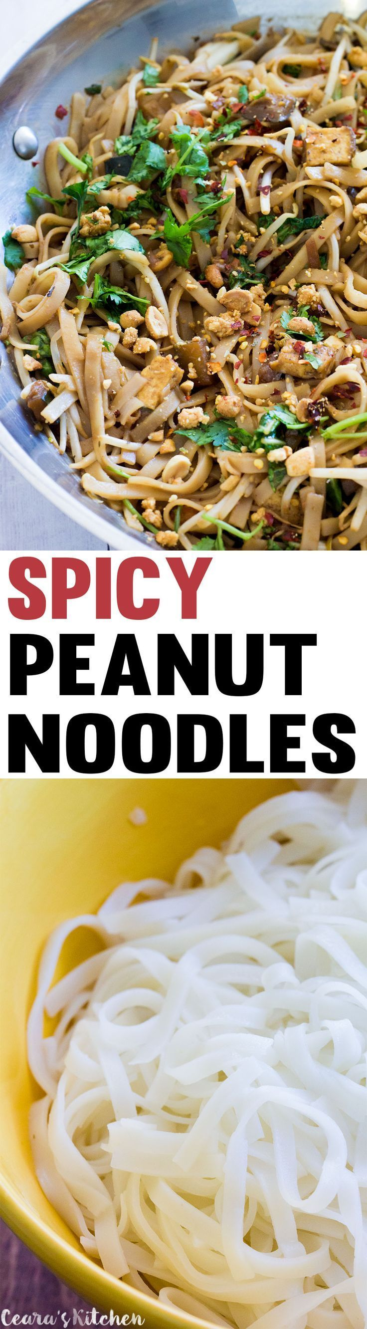 Vegan Spicy Peanut Noodles made with all natural peanut butter, crispy tofu and bok choy! This is a simple meal with a lot of flavour, awesome textures and a real kick. #vegan #glutenfree #meatlessmonday