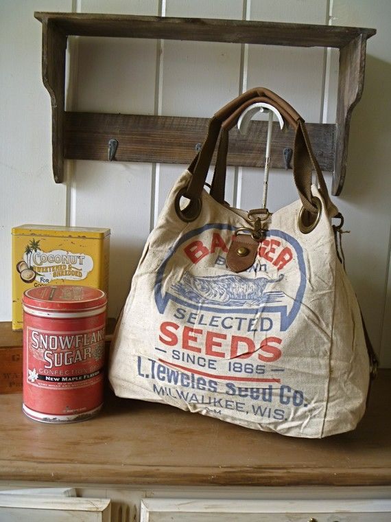 Badger Seeds Milwaukee Wisconsin Vintage Feed Sack Open Tote Americana Ooak Canvas Leather