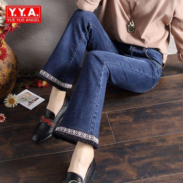 Herfst Nieuwe Stijl Retro Womens Jeans Wijde Pijpen Broek Folk Borduren Kwasten Vrouwelijke Broek Slim Fit Classic Denim Jeans Mujer