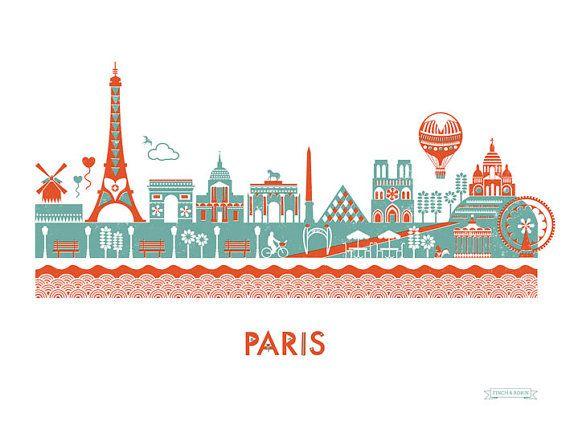 Paris Skyline Print by finchandrobin on Etsy