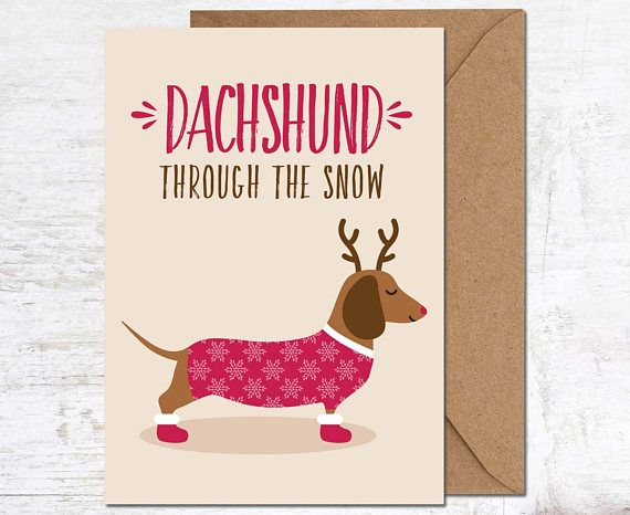 Sausage Dog Christmas Card, Dachshund Christmas Card, Christmas Card Boxed Set, Animal Christmas Card, Holiday Card, Merry Christmas Card, Handmade Card, Boyfriend Christmas Card, Girlfriend Christmas Card, Christmas Card Pack, Cute Christmas Card  Send a lovely greetings card - perfect for the festive season!  This Christmas card is blank inside for your own message, and comes with a kraft envelope. Please note this listing is for a single card only…